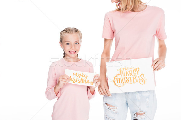 mother and daughter with gifting cards Stock photo © LightFieldStudios