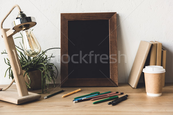 photo frame and coffee to go on table Stock photo © LightFieldStudios