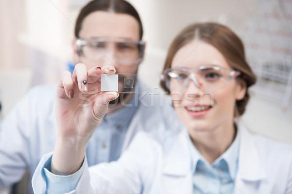 Twee wetenschappers werk jonge naar chemische Stockfoto © LightFieldStudios