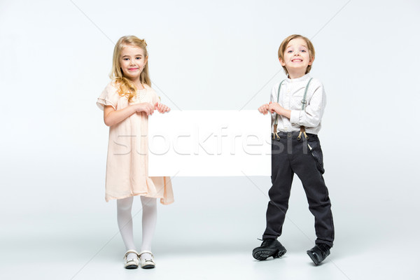 çocuklar boş kart mutlu küçük erkek Stok fotoğraf © LightFieldStudios