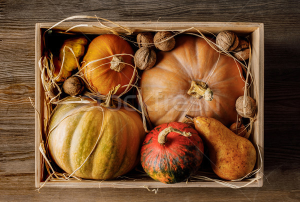pumpkins and walnuts in box Stock photo © LightFieldStudios
