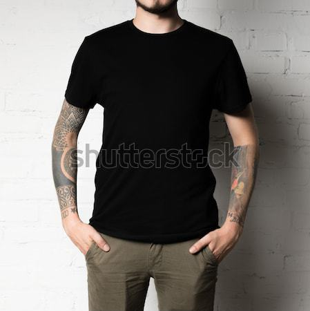 Stock photo: man in blank black t-shirt