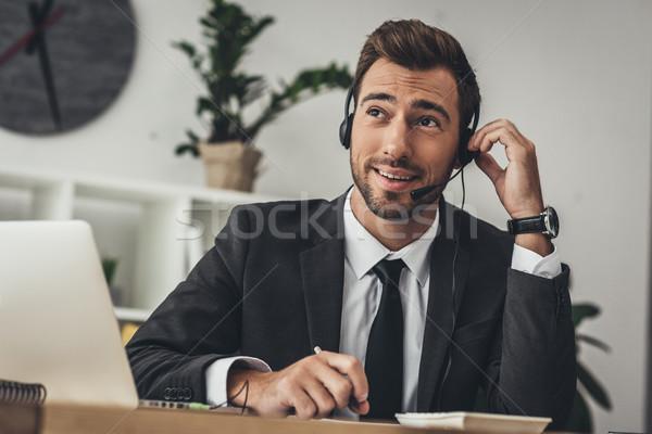 Foto stock: Call · center · trabalhador · bonito · jovem · suporte · técnico