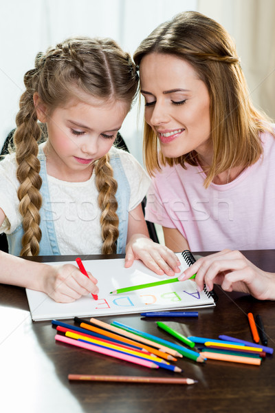 Happy mother and daughter drawing and learning alphabetat home Stock photo © LightFieldStudios
