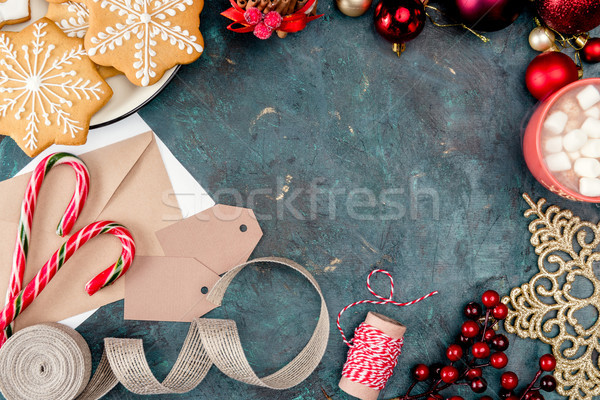Navidad dulces decoraciones superior vista cookies Foto stock © LightFieldStudios