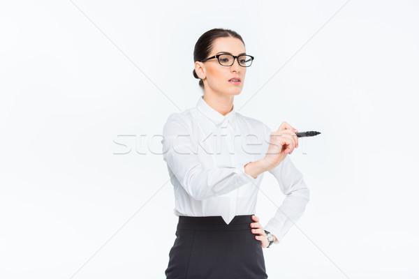 女性実業家 書く マーカー 小さな 眼鏡 白 ストックフォト © LightFieldStudios