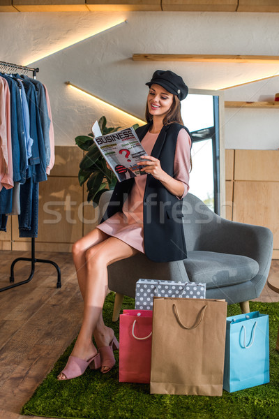 girl reading business magazine Stock photo © LightFieldStudios
