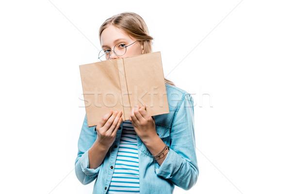 подростку очки книга охватывать глядя Сток-фото © LightFieldStudios