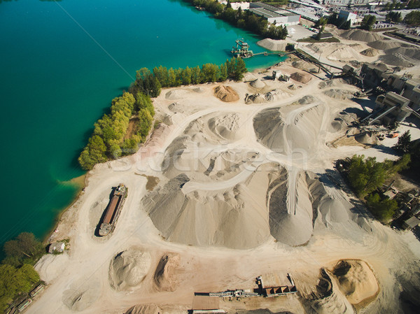 Aerial view of sand quarry or construction at river, Germany Stock photo © LightFieldStudios