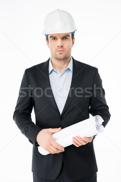 Male architect in hard hat Stock photo © LightFieldStudios