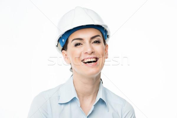 Stockfoto: Vrouwelijke · architect · lachend · naar · camera
