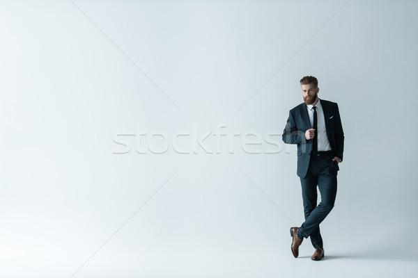 表示 ハンサム あごひげを生やした ビジネスマン スタイリッシュ ストックフォト © LightFieldStudios
