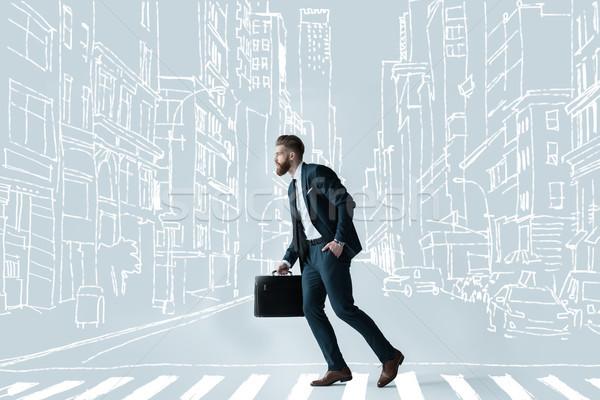 Przystojny biznesmen teczki widok z boku elegancki brodaty Zdjęcia stock © LightFieldStudios