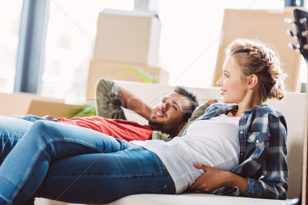 Stock photo: couple resting in new house