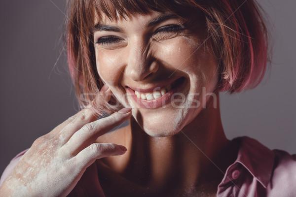 Vrolijk meisje poeder gezicht mooie handen Stockfoto © LightFieldStudios
