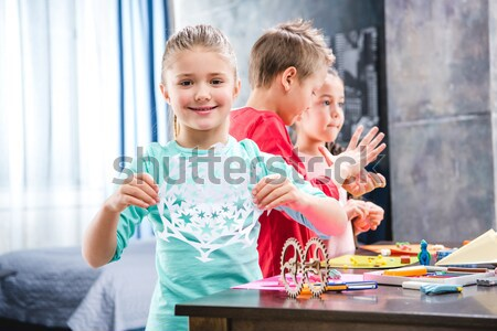 Schoolchildren playing with plasticine Stock photo © LightFieldStudios