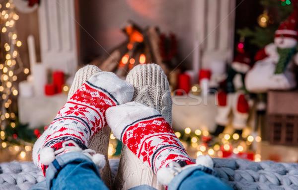 Piernas caliente calcetines amoroso Pareja feliz Foto stock © LightFieldStudios