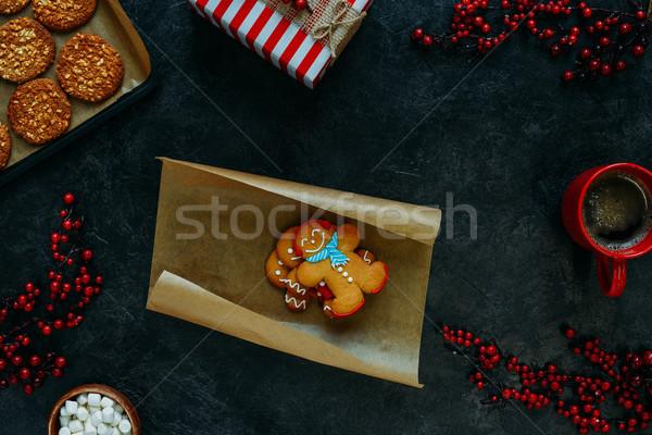 Noel zencefilli çörek erkekler üst görmek Stok fotoğraf © LightFieldStudios