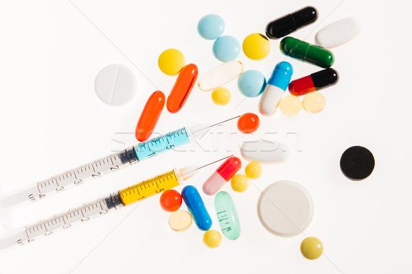 Stock fotó: Felső · kilátás · színes · orvosi · tabletták · fehér