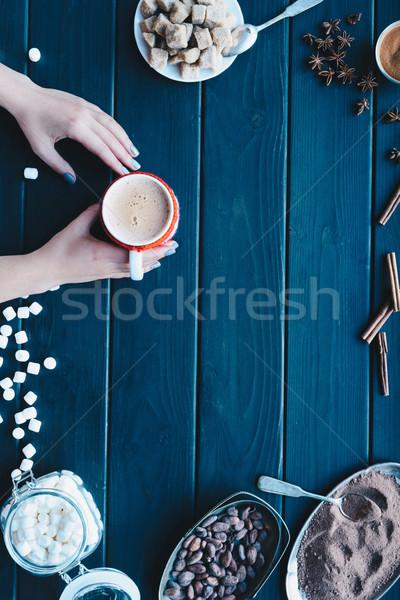Kadın eller fincan kakao Stok fotoğraf © LightFieldStudios