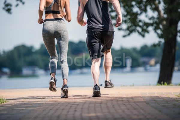 Paar jogging park samen vrouw Stockfoto © LightFieldStudios