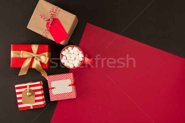 christmas gifts and beverage with marshmallows Stock photo © LightFieldStudios