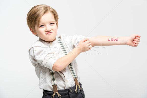 Piccolo ragazzo parola amore cute scritto Foto d'archivio © LightFieldStudios