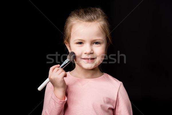 Lány sminkecset mosolyog kislány jelentkezik por Stock fotó © LightFieldStudios