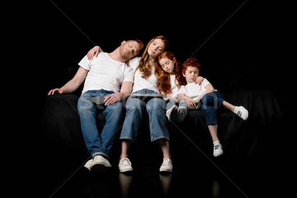 Alszik család különböző digitális eszközök izolált Stock fotó © LightFieldStudios