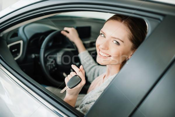 привлекательный сидят Новый автомобиль ключевые стороны Сток-фото © LightFieldStudios