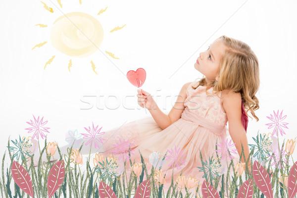 Happy girl enjoying sun Stock photo © LightFieldStudios