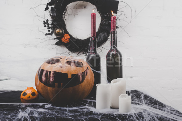 Stock photo: candles and halloween decorations