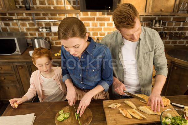 family cooking dinner Stock photo © LightFieldStudios
