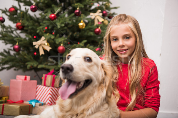 child with dog at christmastime Stock photo © LightFieldStudios