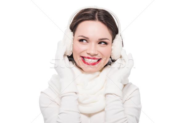 Nő piros ajkak portré fiatal mosolygó nő sál Stock fotó © LightFieldStudios
