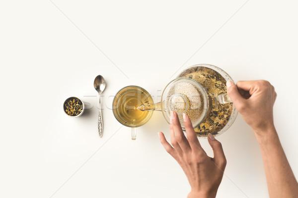 person pouring herbal tea Stock photo © LightFieldStudios