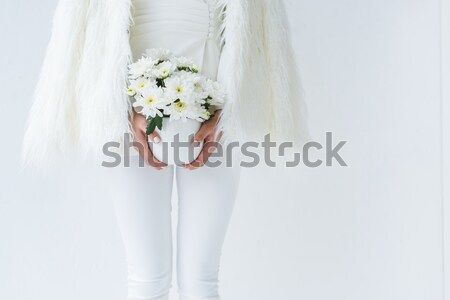 cropped view of bride in elegant dress with wedding bouquet, isolated on white Stock photo © LightFieldStudios