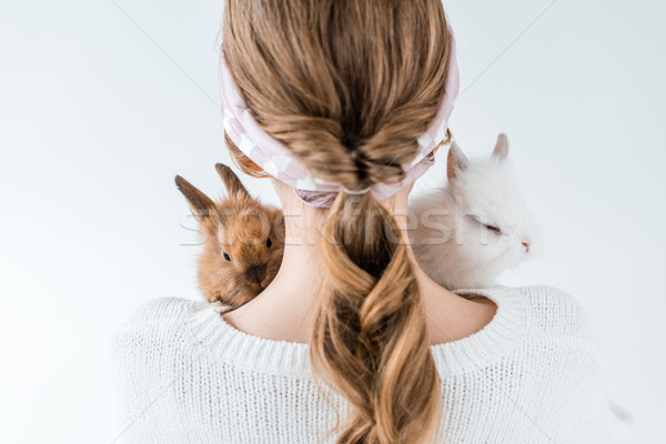 back view of girl holding adorable furry bunnies isolated on white Stock photo © LightFieldStudios