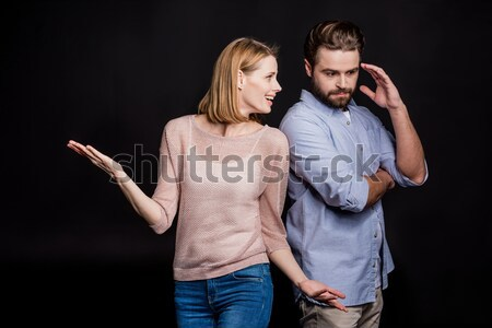 partial view of couple in love looking at each other on black Stock photo © LightFieldStudios