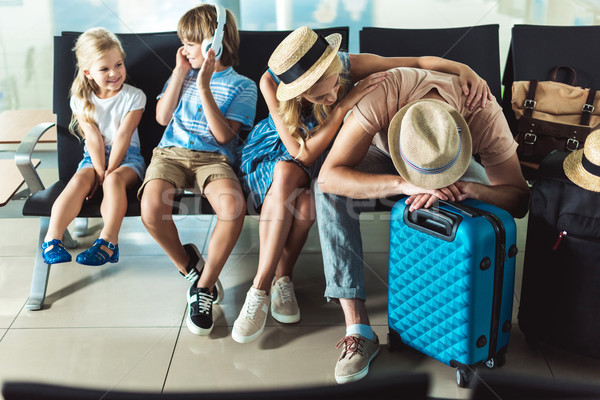 family waiting for boarding at airport Stock photo © LightFieldStudios