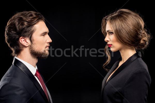 Stock photo: Serious couple in formal wear
