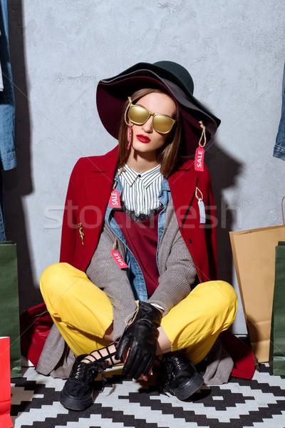 shopaholic with sale tags Stock photo © LightFieldStudios