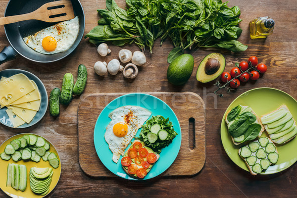 Saludable desayuno placa superior vista ingredientes Foto stock © LightFieldStudios