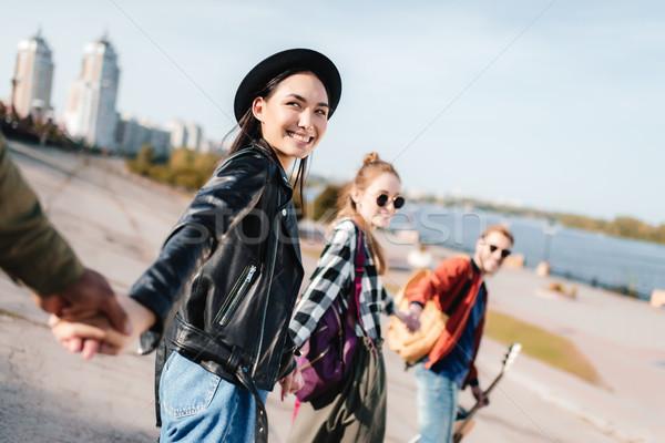 多文化の 友達 手をつない ショット 幸せ 通り ストックフォト © LightFieldStudios