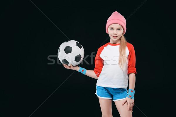 かわいい 少女 スポーツウェア ポーズ サッカーボール 孤立した ストックフォト © LightFieldStudios