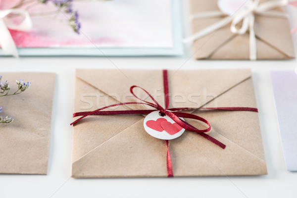 Stock photo: collection of envelopes or invitations isolated on white, wedding invitation card design concept