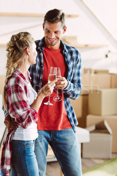 Couple potable champagne heureux Photo stock © LightFieldStudios