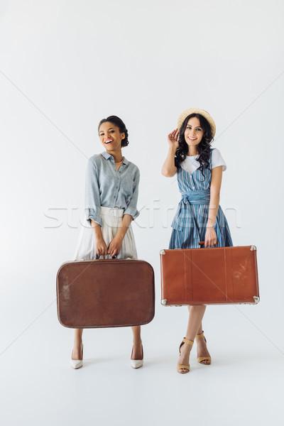 Mujeres equipaje alegre retro ropa Foto stock © LightFieldStudios