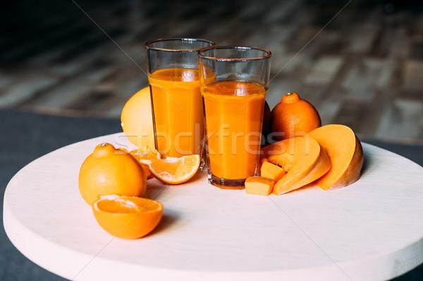Orange smoothie ingrédients vue organique Photo stock © LightFieldStudios