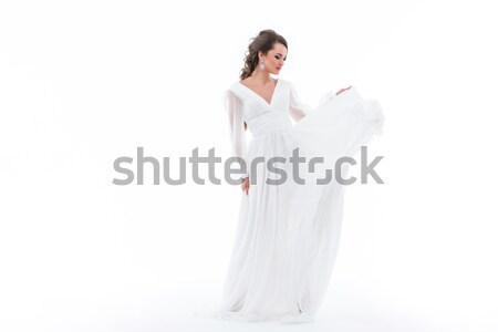 elegant bride in traditional white dress, isolated on white Stock photo © LightFieldStudios